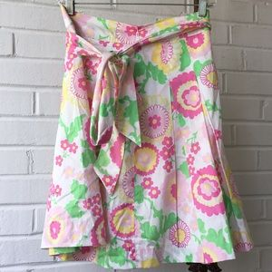 Lilly Pulitzer Floral Cotton Skirt w/ Sash Sz 2